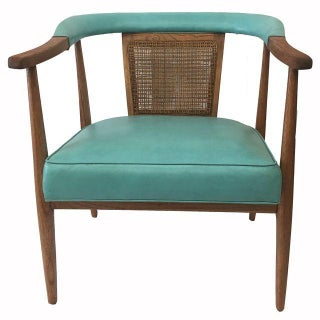 Vintage Mid-Century Teal & Oak Chair
