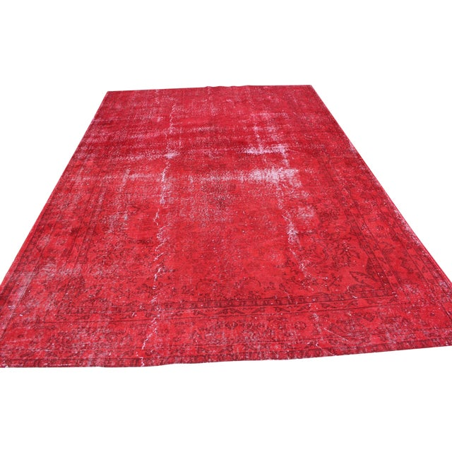 Red Overdyed Vintage Turkish Rug - 7′ × 10′10″ - Image 1 of 8