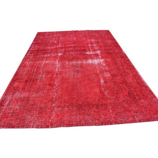 Red Overdyed Vintage Turkish Rug - 7′ × 10′10″
