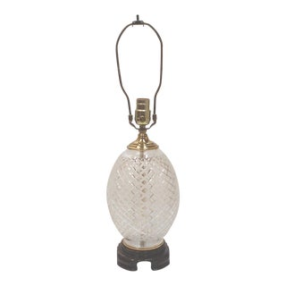 Chinoiserie Style Cut Lead Crystal Pineapple Table Lamp