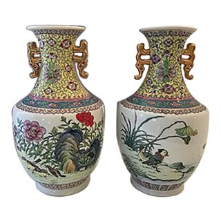 Porcelain Chinoiserie Bird Vases - A Pair