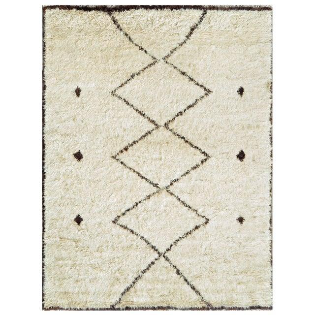 "Moroccan Lamb's Wool Area Rug - 5'9"" X 8'11"" - Image 1 of 2"