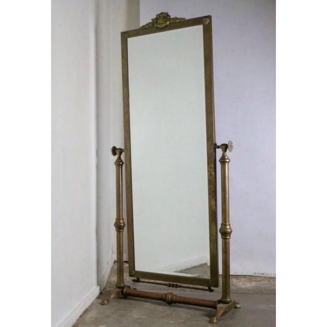 Hollywood Regency Brass Standing Mirror - Image 2 of 7