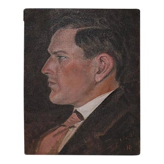 Early 20th Century Signed Acrylic Portrait by Listed Artist D. Neal, 1910