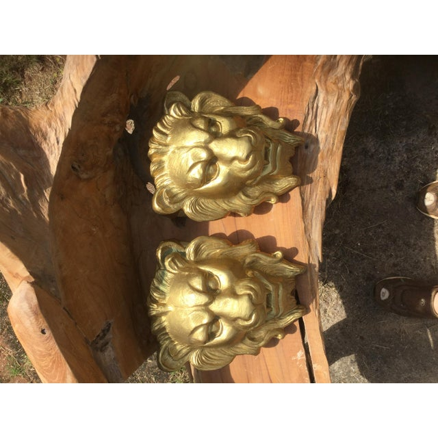 Majestic Golden Lion Wall Shelfs - a Pair - Image 2 of 10