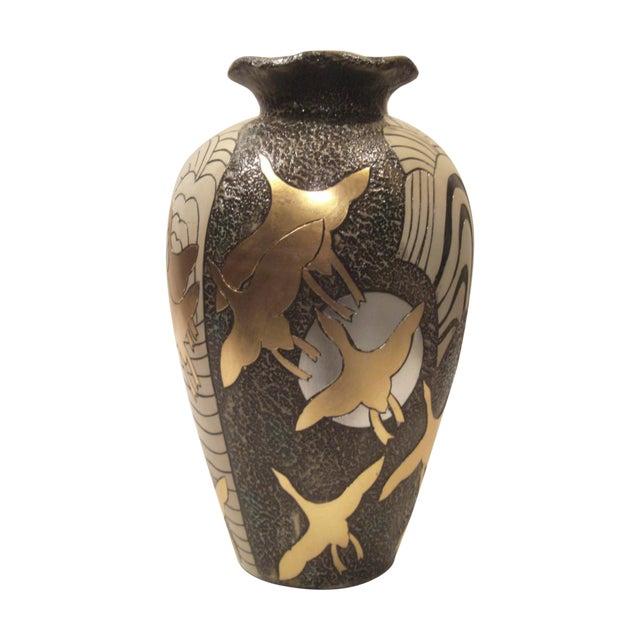 Large Alexander Kalifano Gold & Silver Leaf Vase - Image 1 of 10