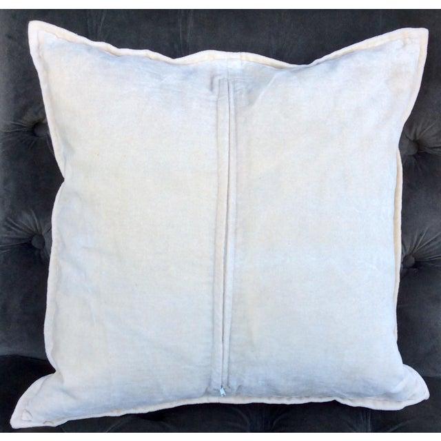 Image of Ivory Silk Pillow Gold Hand Block Print - Pair