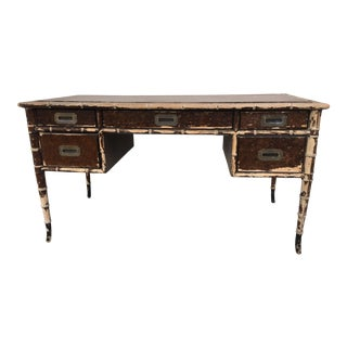 Drexel Vintage Hollywood Regency Desk with Bamboo Curved Legged Kneehole