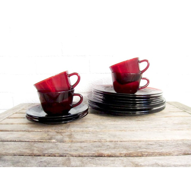 Vintage Ruby Red Glass Tea Cups & Plates - 16 Pcs - Image 6 of 6
