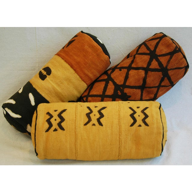 Tribal Mud-Cloth Bolster Accent Pillows - Set of 3 - Image 3 of 9