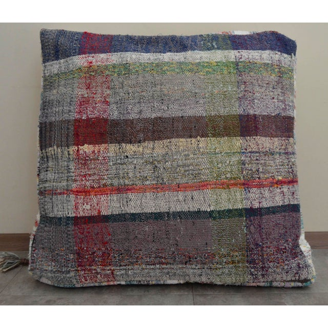Turkish Kilim Floor Pillow : Turkish Hand Woven Kilim Sitting Cushion Floor Pillow Rugrag Chairish