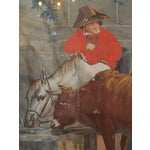"Image of Large Early 19th c. Gouache Painting, ""By the Water Trough"""