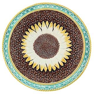 Antique English Majolica Sunflower Plate