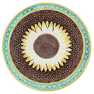 Antique English Majolica Sunflower Plate