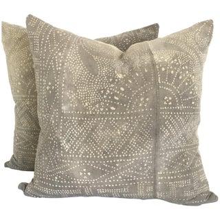 Gray Batik Floral Pillows - Pair