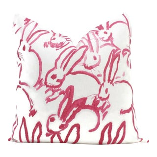 "20"" x 20"" Lee Jofa Groundworks Hutch Pink Bunny Pillow"