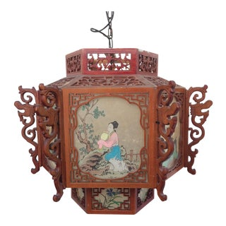 Red Chinese Wood & Lucite Lantern