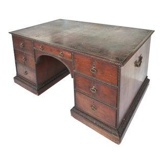 19th-C Partner's Desk w/ Brass Hardware