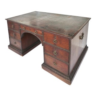 19th-C Partner's Desk w/ Brass Hardware