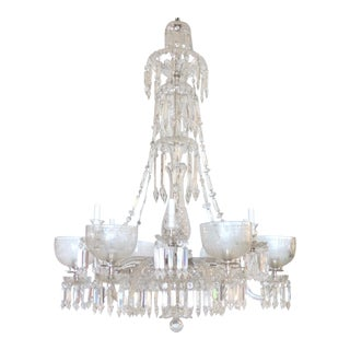 English 19th Century Twelve-Arm Cut Crystal Gas Chandelier by F. C. Osler