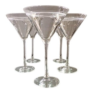 Blown Glass Martini Glasses With Frosted Rings - Set of 5