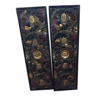 Balinese Floral Wood Carvings - A Pair