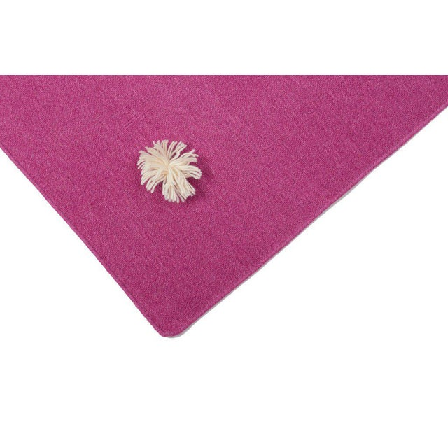 Flat Woven Dhurrie Pink & White Pom Rug - 4' x 6' - Image 2 of 3