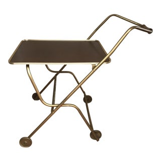 Mid-Century Rolling Serving Tray Bar Cart