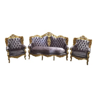 Gray Tufted Velvet Chairs & Sofa - Set of 3