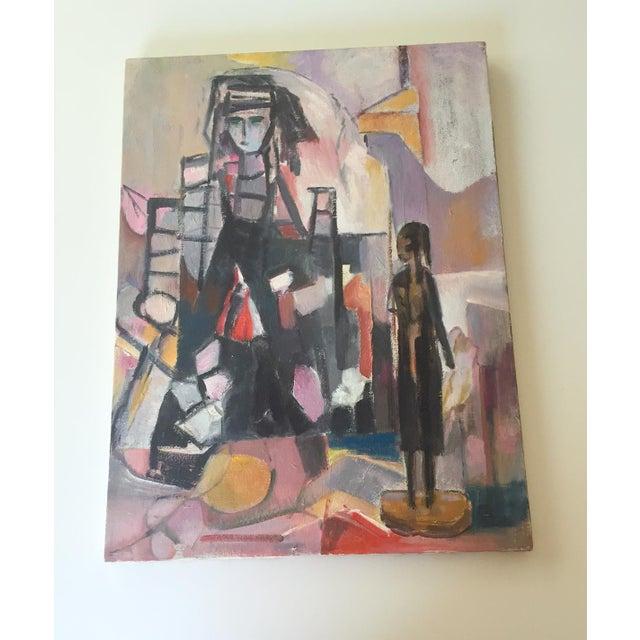 Vintage Modernist Cubist Acrylic Painting - Image 2 of 8