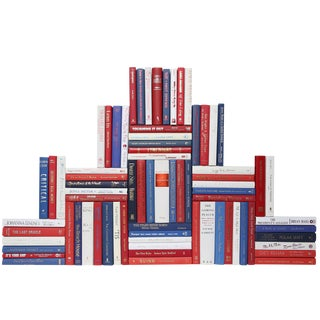 Modern Red, White & Blue Book Wall - Set of 75