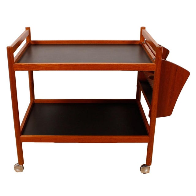 Danish Teak Bar Cart With Removable Wine Caddy - Image 3 of 10