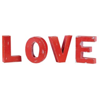 "Industrial Metal Hanging ""Love"" Letters - Set of 4"