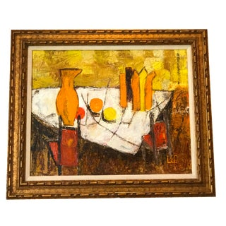 """Mid-Century Abstract Still Life Oil Painting, Signed """"Leo"""""""