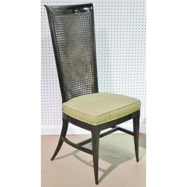 6 Harvey Probber Ebonized Caned Back Dining Chairs - Image 2 of 6