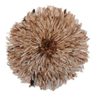 "Large 32"" Tan/Brown African Feather Juju Wall Hanging"