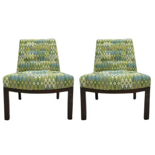 Pair of Newly Upholstered Slipper Chairs by Edward Wormley for Dunbar