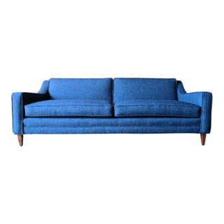 Mid Century Reupholstered Vibrant Blue Sofa