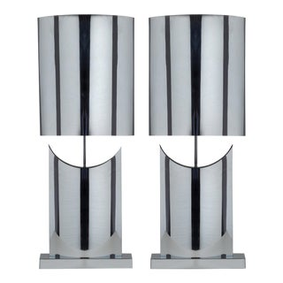 A Large Pair of Curtis Jere Chrome Table Lamps 1970s
