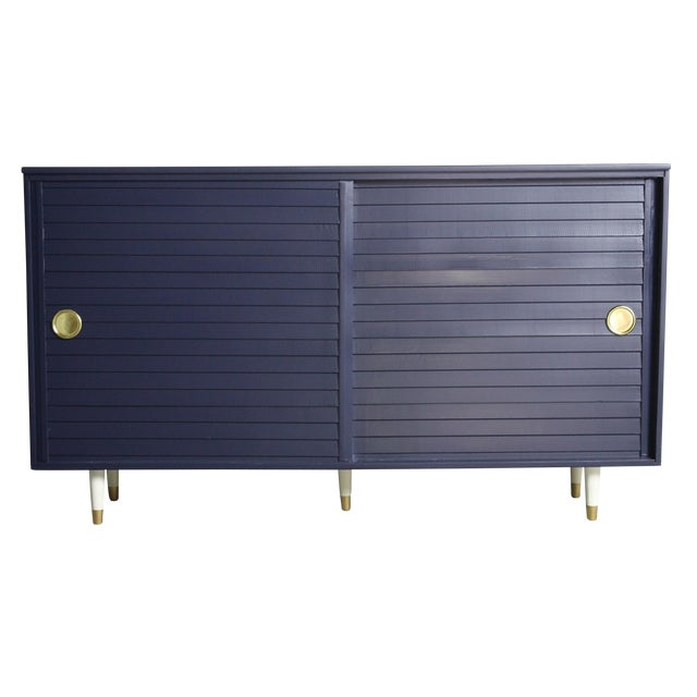 1960's Navy Cabinet W/ White & Gold Tapered Legs - Image 1 of 11