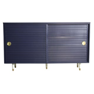 1960's Navy Cabinet W/ White & Gold Tapered Legs