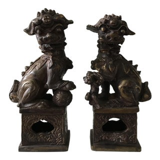 19th Century Bronze Foo Dogs - A Pair