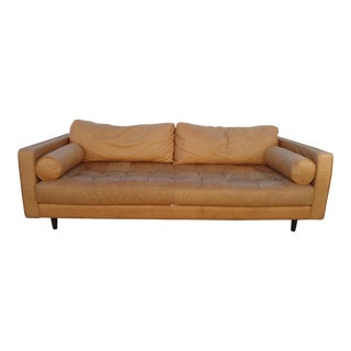 Distressed Tan Leather Sofa W/ Tufted Seat