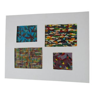 Abstract Modernist Geometric Paintings - Set of 4