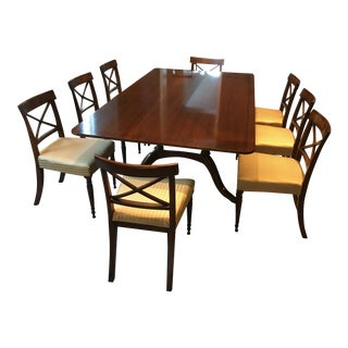 Antique English Mahogany Gold Striped Silk Upholestry Dining Set