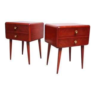 Swedish Nightstands in Brass and Stained Mahogany by Axel Larsson for Bodafors