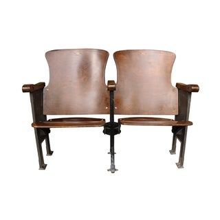 Salvaged Folding Wood Theater Chairs - Pair