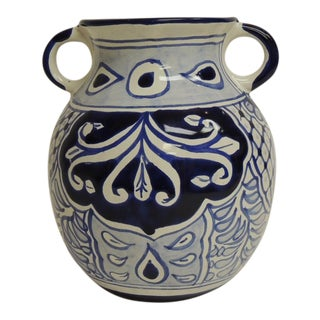 Vintage Blue & White Mexican Vase