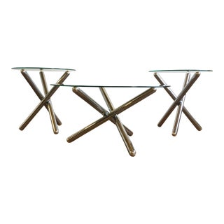 Chrome Coffee Table & Side Tables - A Pair