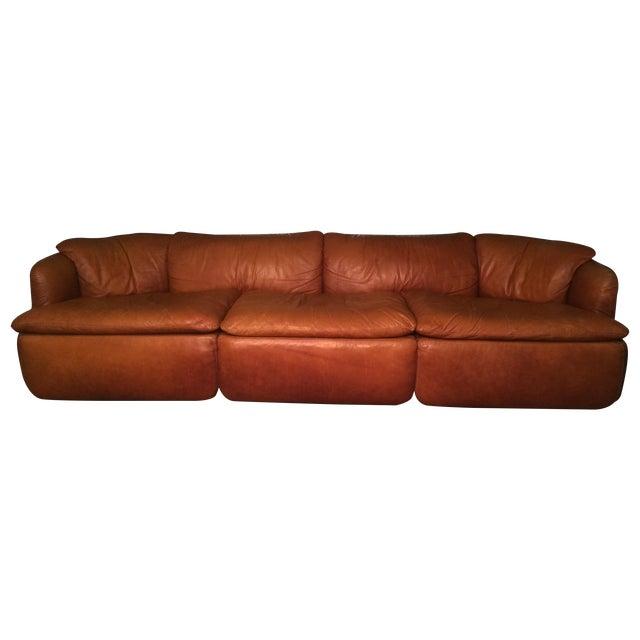 Image of Alberto Rosselli for Saporiti Leather Sofa